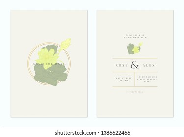 Minimalist floral wedding invitation card template design, anemone and eustoma flowers line art ink drawing in green and yellow on light brown, pastel vintage theme