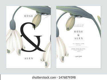 Minimalist floral wedding invitation card template design, snowdrop flowers with ampersand lettering on white