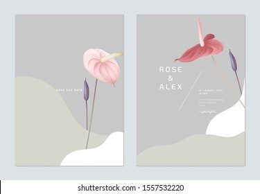 Minimalist floral wedding invitation card template design, pink and red Anthurium flowers on light grey