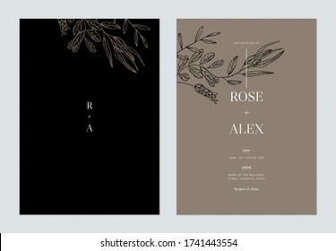 Minimalist floral wedding invitation card template design, floral line art ink drawing on black and brown