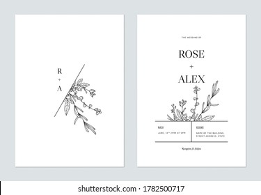 Minimalist floral wedding invitation card template design, floral line art ink drawing on white