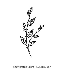 Minimalist flower line art. Icon with branch and leaves. Boho floral for logo design. Perfect for wedding invitations, cards, blogs. Vector illustration isolated on white.