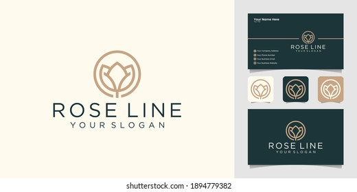 Minimalist flower style line art logo template and business card