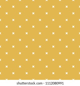 Minimalist geometric seamless pattern. Yellow mustard color. Autumn background. Simple vector abstract texture with small square shapes, crosses. Minimal repeat design for decor, prints, wrapping