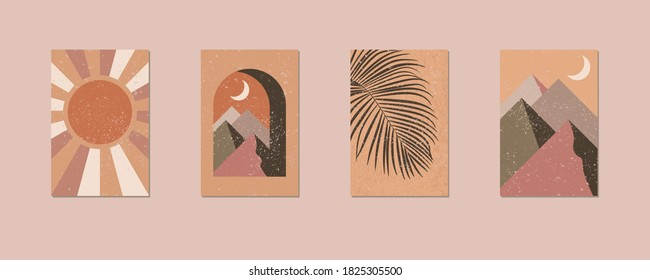 Minimalist geometric terracotta wall art. Abstract landscapes for boho esthetic interior. Home decor wall prints. Soft pastel hues. Arch, sun and moon, palm tree leaf. Contemporary printable vector