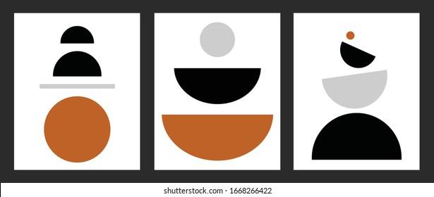 minimalist geometrical abstract art mid century modern style simple color palette artwork templates set of 3