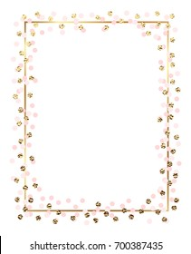 c5682d8b9a9 Minimalist gold frame design with golden glitter and pink circles.