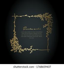 Minimalist golden square floral flyer on dark background