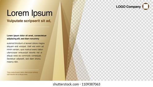 Minimalist graphic design layout template for advertising, creative business concept, modern diagonal abstract background Geometric. Luxury Gold, Brown shine & transparent theme, Vector illustration