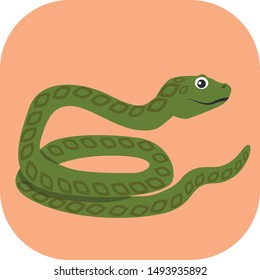 Minimalist green snake on an orange background. Ideal for medals or icons.