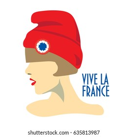 Minimalist greeting design for The Bastille Day, French National Day. Text in French Long Life France. A girl with red hat known also as Phrygian cap or liberty cap with tricolor cockade on. 14 July.