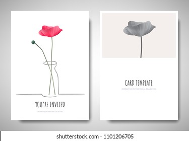 Minimalist greeting/invitation card template design, pink poppy flowers in simple line vase on white background