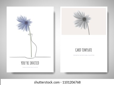 Minimalist greeting/invitation card template design, blue Chrysanthemum flower in simple line vase on white background