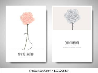 Minimalist greeting/invitation card template design, pastel pink rose in simple line vase on white background