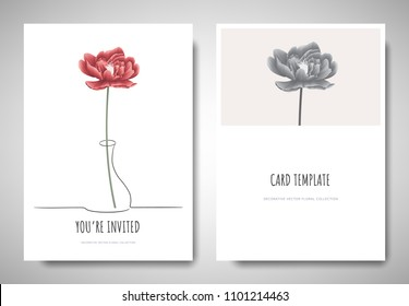 Minimalist greeting/invitation card template design, red peony flower in simple line vase on white background