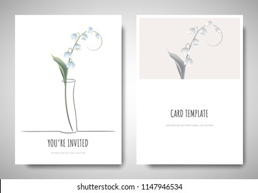 Minimalist greeting/invitation card template design, lily of the valley flower in simple line vase on white background