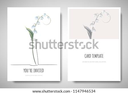 minimalist greetinginvitation card template design lily stock vector