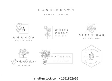 Minimalist hand drawn floral logo