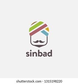 minimalist head of sinbad logo icon inspiration