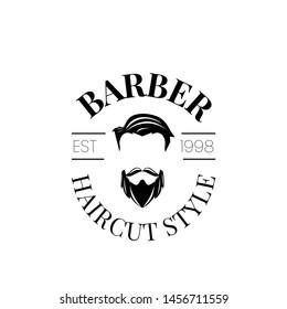 minimalist hipster vintage barber shop logo with scissors, badge or emblem