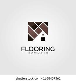 minimalist home flooring logo vector template