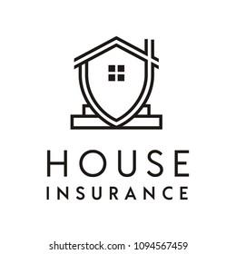 Minimalist House Insurance Logo Design Inspiration Stock Vector