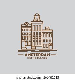 minimalist icon of Amsterdam Netherlands flat one line style