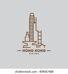minimalist icon Hong Kong flat one line style