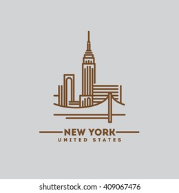minimalist icon New York flat one line style