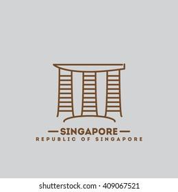 minimalist icon Singapore flat one line style
