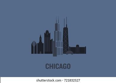 Minimalist illustration of Chicago principal buildings. Flat vector design.