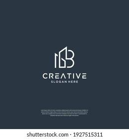 Minimalist initial B with building logo design architecture