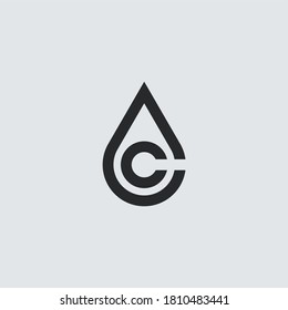 Minimalist Initial Letter C with Droplet or Oil Drop Logo Design Vector