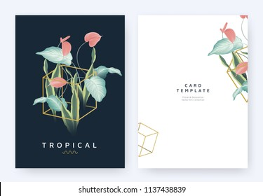 Minimalist invitation card template design, tropical plants and red Anthurium flowers in golden polygon geometric cube shape on dark blue background, pastel vintage style