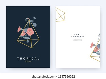 Minimalist invitation card template design, red Tropaeolum flowers flowers in golden polygon geometric triangle shape on dark blue background, pastel vintage style