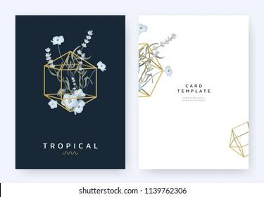 Minimalist invitation card template design, lavandula/lavender and blue Nemophila flowers in golden polygon geometric diamond shape on dark blue background, pastel vintage style
