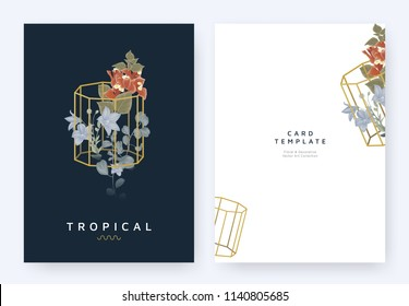 Minimalist invitation card template design, tropical plants and red Bougainvillea, purple Platycodon or balloon flowers in golden polygon geometric shape on dark blue background, pastel vintage style