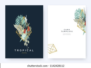 Minimalist invitation card template design, tropical plants and red Lapageria rosea flowers in golden polygon geometric diamond shape on dark blue background, pastel vintage style