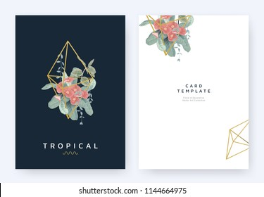 Minimalist invitation card template design, tropical plants and red Euphorbia milii flowers in golden polygon geometric shape on dark blue background, pastel vintage style