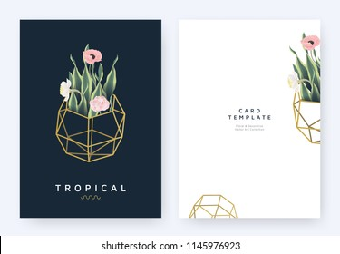 Minimalist invitation card template design, tropical plants and poppy, daffodil and tulip flowers in golden polygon geometric shape on dark blue background, pastel vintage style