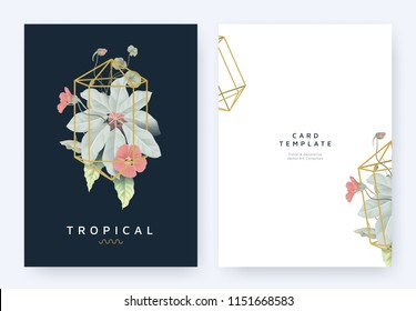 Minimalist invitation card template design, tropical plants and red Tropaeolum flowers in golden polygon geometric shape on dark blue background, pastel vintage style