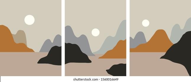 Minimalist landscape design, flat scenery postcard,nordic scandinavian design,poster set mountains lake sunset copy space earthy tones
