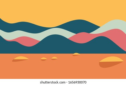 Minimalist landscape design  flat scenery postcard nordic scandinavian design poster mountains lake full moon purple and blue color palette