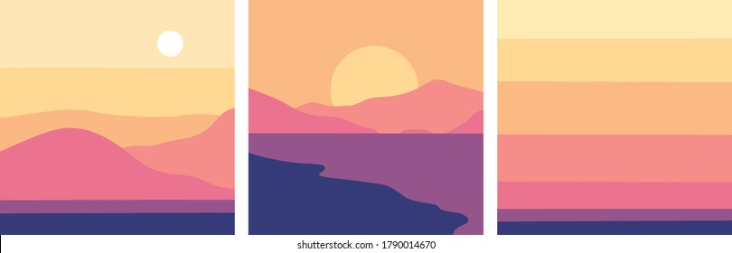 Minimalist landscape design, flat scenery postcard,scandinavian design,poster set  mountains lake sunset