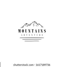 Minimalist Landscape Hill / mountain logo design with a lake
