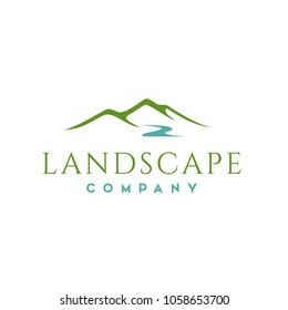 Minimalist Landscape Hills, Mountain Peaks River Creek Simple logo design Vector