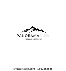 Minimalist Landscape Hills, Mountain Peaks River Creek Simple Logo Design Vector