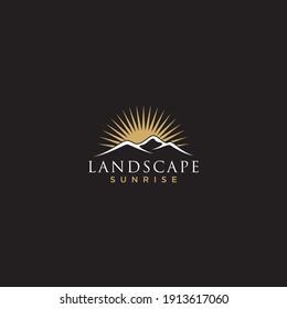 Minimalist Landscape Mountain logo design inspiration