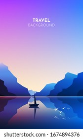 Minimalist landscape. Mountains near the water. Vector image of mountains on background of lakes, sea, ocean. Reflection in water. Boat with sail. Abstract illustration for travel, adventure, climbing