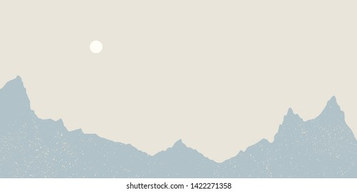 Minimalist landscape with mountains and the sun. Pastel colors and grainy texture.